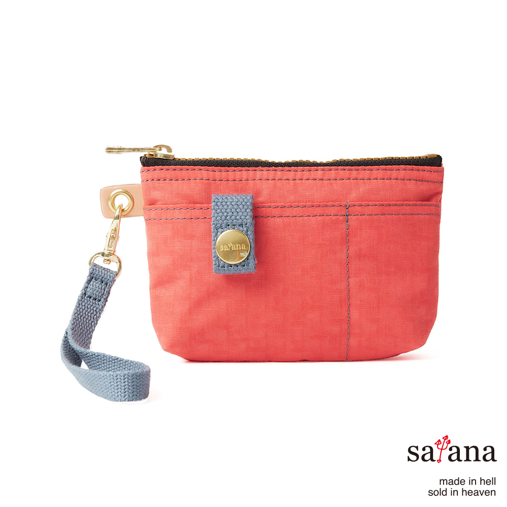satana - 實用拉鍊化妝包/零錢包 - 珊瑚紅
