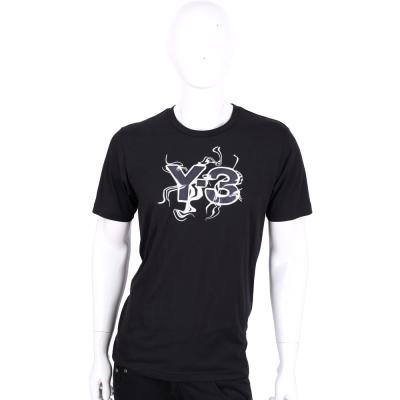 Y-3 LOGO設計黑色棉質短袖T恤