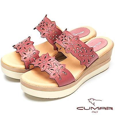 CUMAR舒適底台-簍空設計真皮厚台涼鞋-紫色