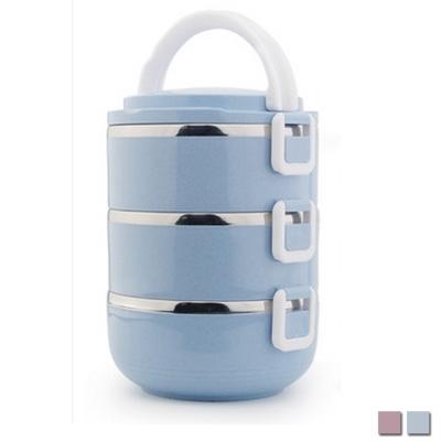 PUSH! 餐具用品不鏽鋼保溫飯盒防燙3層便當盒E93藍色