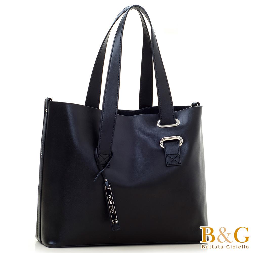 B&G 義大利頂級牛皮銀光極簡托特包中包(貴族黑)