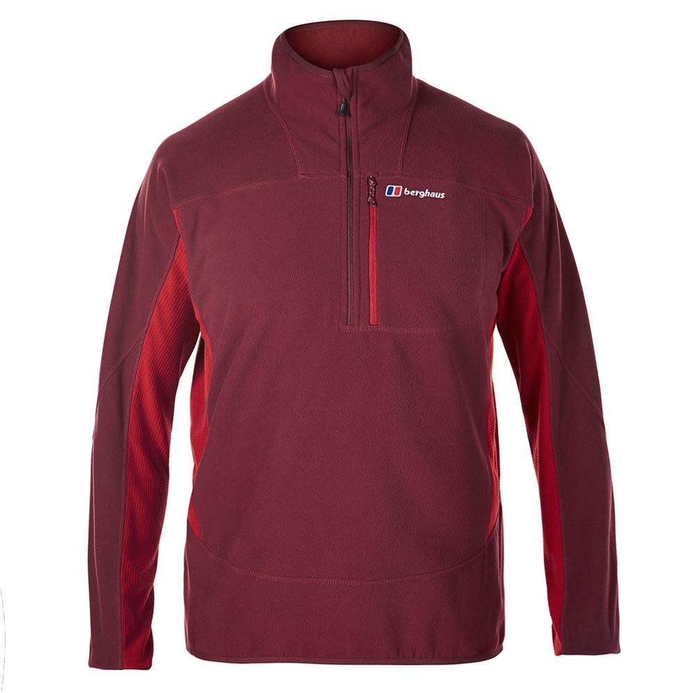 【Berghaus貝豪斯】男款 PRISM 刷毛保暖半襟上衣H51M05-紅