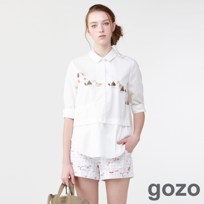 gozo迷幻搖滾樂節奏排釦短褲(二色)-動態show