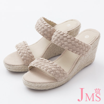 JMS-完美韓風簡約寬版編織楔型涼拖-杏色