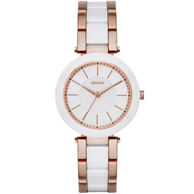 DKNY 曙光派對 陶瓷腕錶~白x雙 錶帶 35mm
