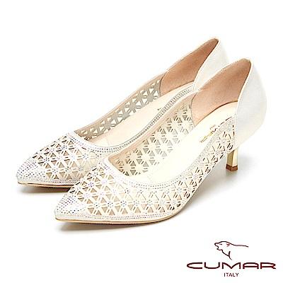 CUMAR透視裸肌-水鑽造型簍空設計高跟鞋-淺金色