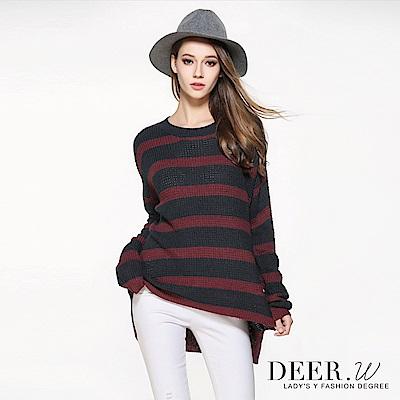 DEER.W 圓領粗織條紋毛衣(共兩色)