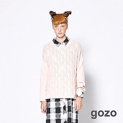 gozo-網路獨家-簡約麻花織紋落肩長版針織衫2色