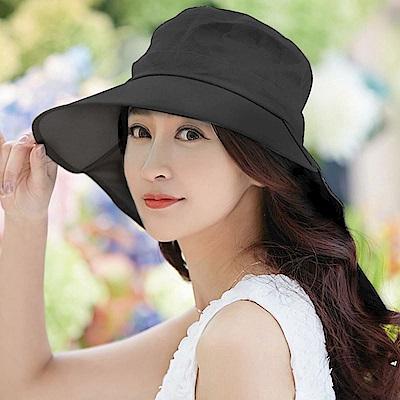 【幸福揚邑】清爽優雅抗UV護頸大帽檐可捲收露馬尾遮陽帽-黑