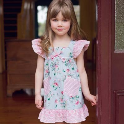 Oobi 粉藍碎花拼接無袖荷葉邊洋裝