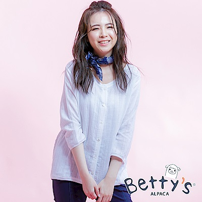 betty's貝蒂思 棉麻質感七分袖襯衫(白色)
