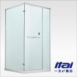 一太淋浴門-無框L字型防爆淋浴門(寬221~240cm x 高200cm範圍以內)