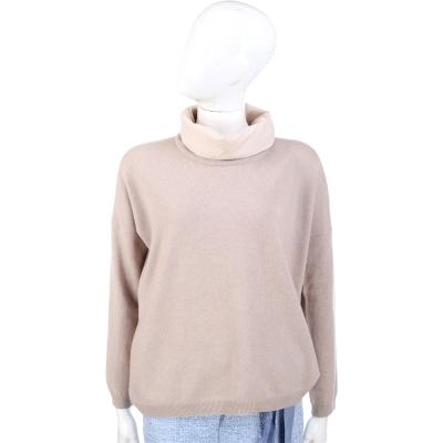 FABIANA FILIPPI 卡其色拼接設計高領羊毛長袖上衣(75%LANA)