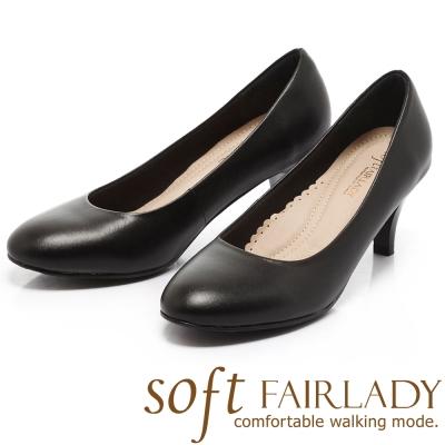 Fair Lady New超級上班者聯盟3號 典雅百搭圓頭中跟鞋 黑