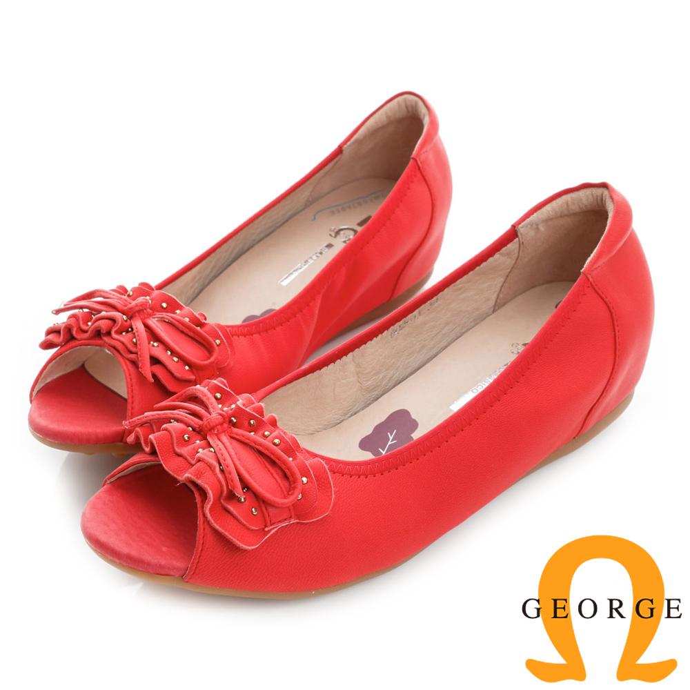 GEORGE喬治皮鞋-蝴蝶結鉚釘真皮內增高楔型魚口低跟鞋-紅色