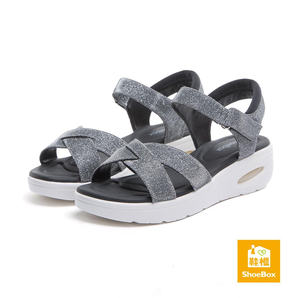 達芙妮DAPHNE ShoeBox系列 涼鞋-X型交叉魔鬼氈氣墊休閒涼鞋-錫8H