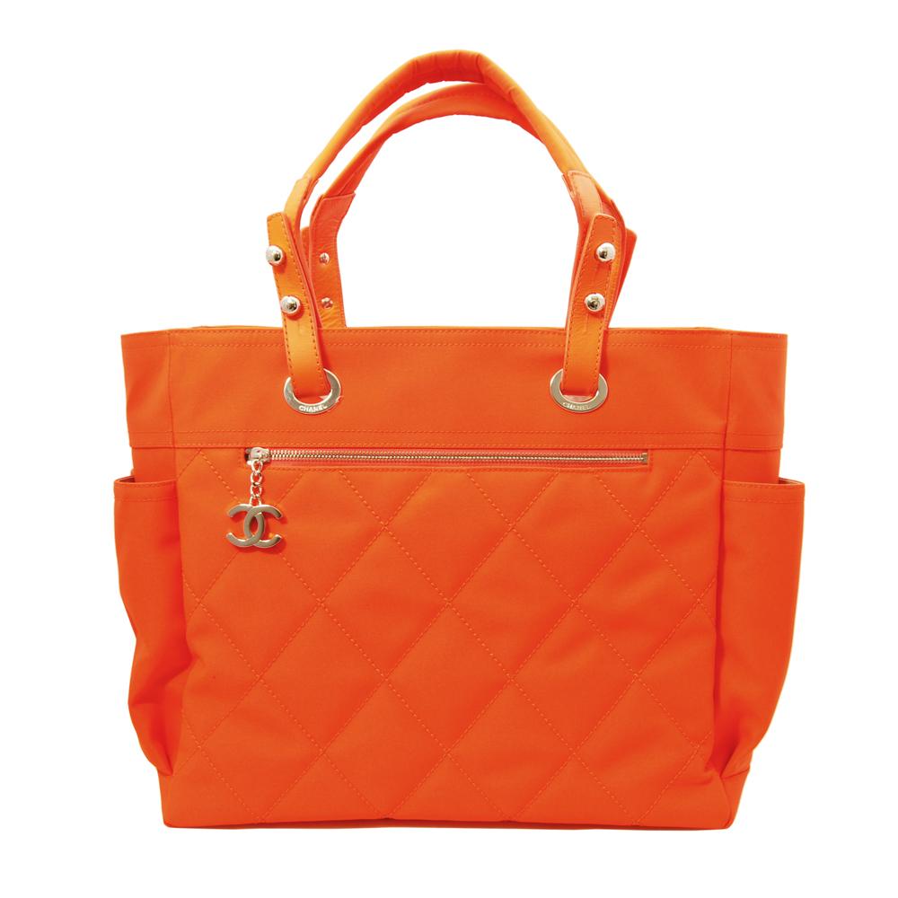 CHANEL Paris-Biarritz巴黎系列菱格紋購物托特包(螢光橘)CHANEL香奈兒