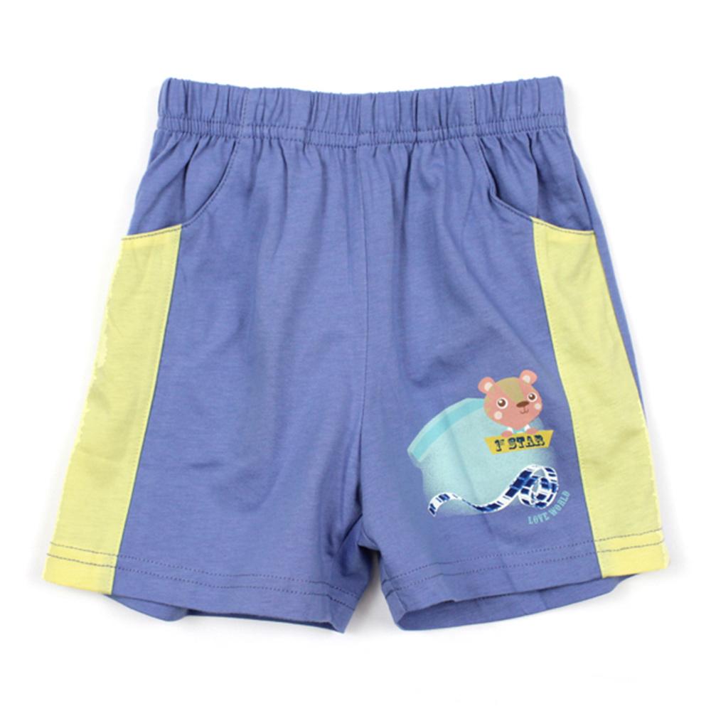 愛的世界 MYBABY 純棉鬆緊帶口袋短褲-藍/1歲