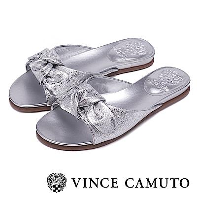 Vince Camuto 金屬蝴蝶結透氣平底拖鞋-銀色