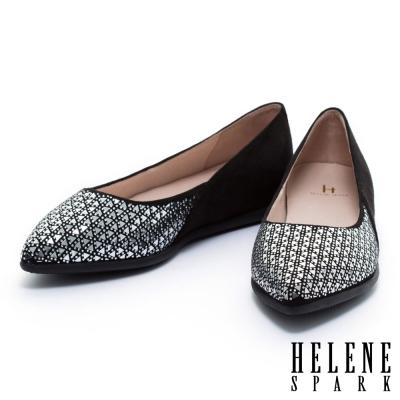平底鞋 HELENE SPARK 時尚幾何晶鑽麂布尖頭平底鞋-黑