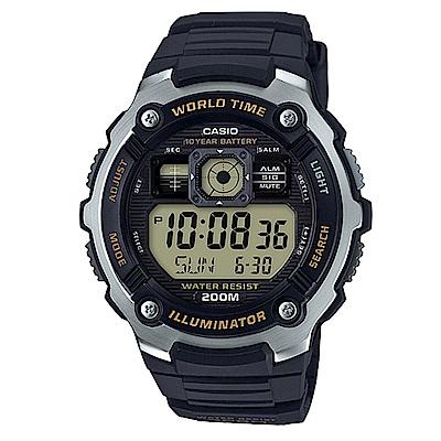 CASIO深海潛將數位電子膠帶錶AE-2000W-9黃面48mm