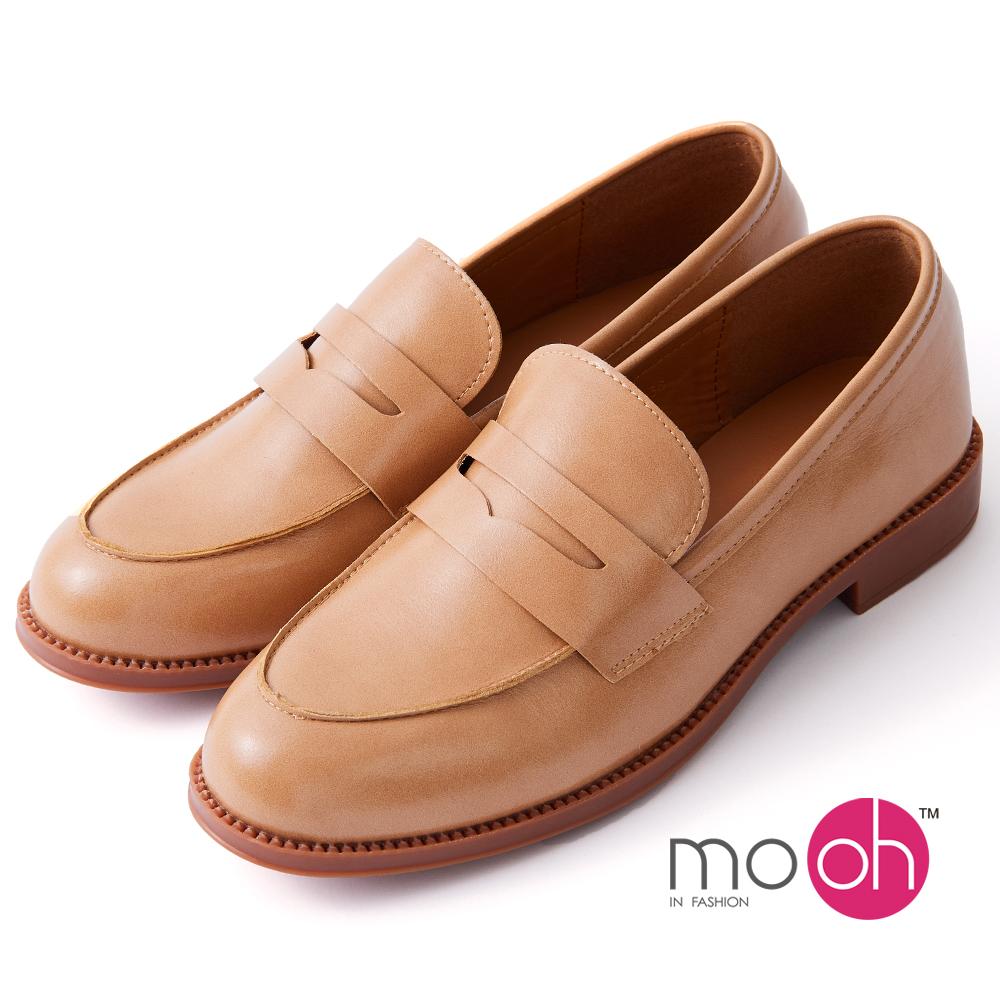 mo.oh -經典油蠟牛皮紳士鞋樂福鞋 -卡其棕色