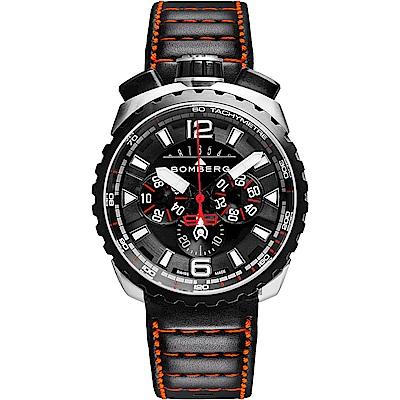 BOMBERG 炸彈錶 BOLT-68 霸氣黑紅計時手錶-黑/45mm