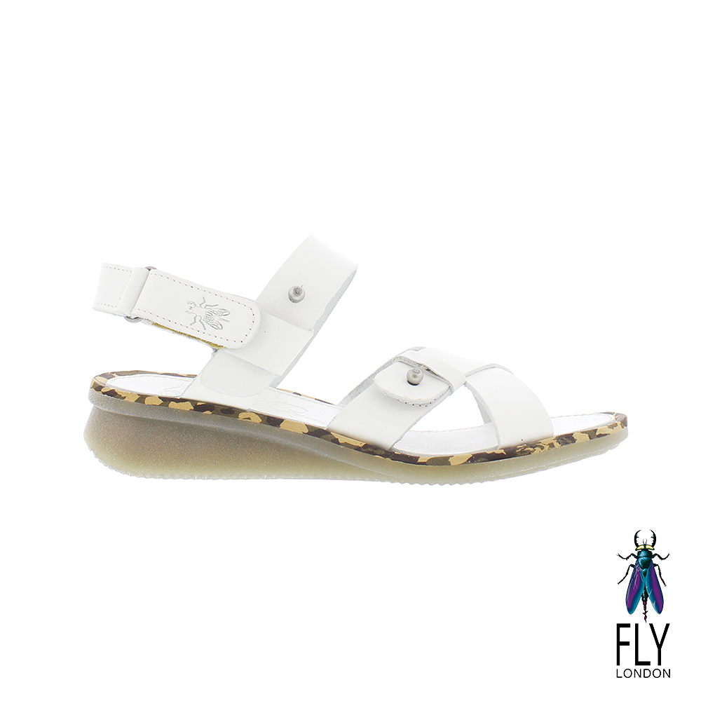 Fly London(女)  我行我素 牛皮大交叉平底涼鞋- 特別白