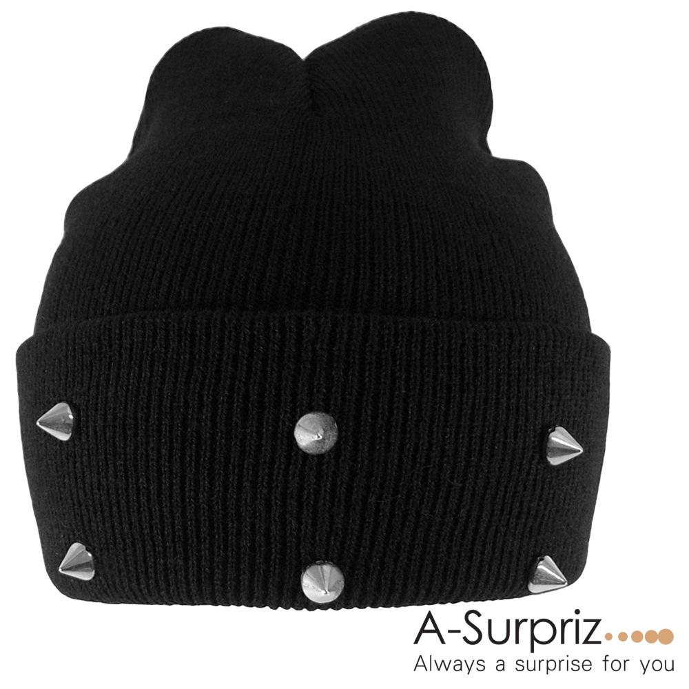 A-Surpriz 甜美搖滾鉚釘毛線帽(黑)