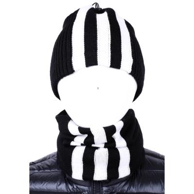 Y-3 RIBBED BEANIE SCARF 條紋束口毛帽/脖圍(黑色)