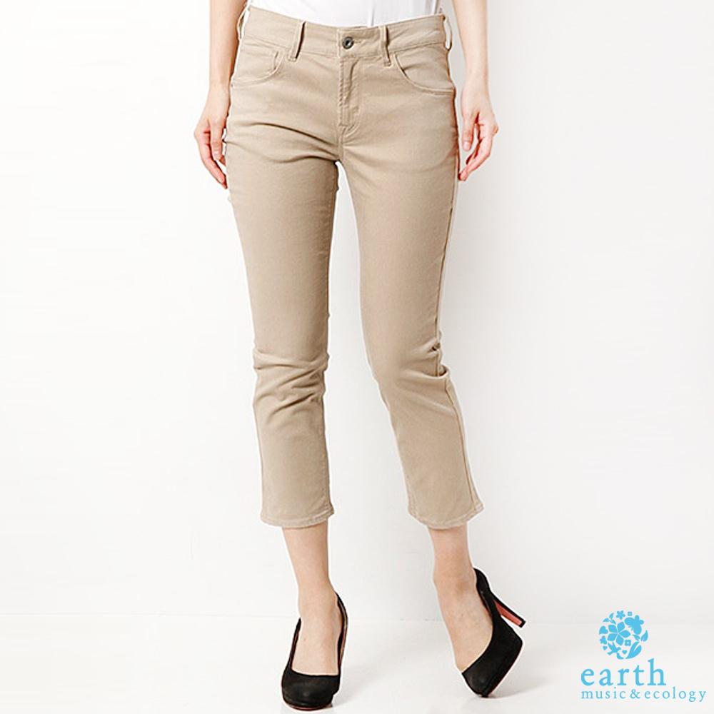 earth music&ecology 激瘦素色彈性七分窄身褲