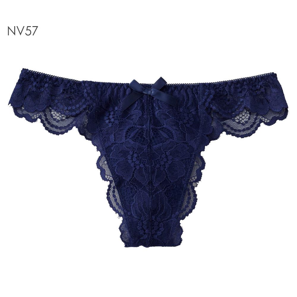 aimerfeel 淑女蕾絲交叉包覆丁字褲-古典藍