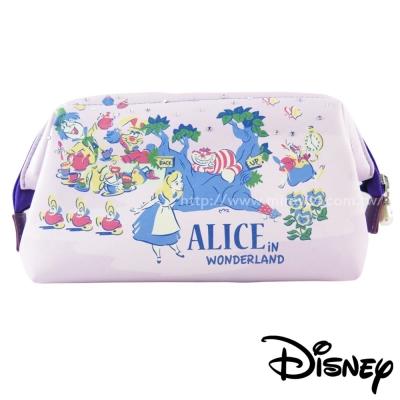 Disney迪士尼皮革施華洛世奇手繪風立體大開口化妝包-公主系列-愛麗絲