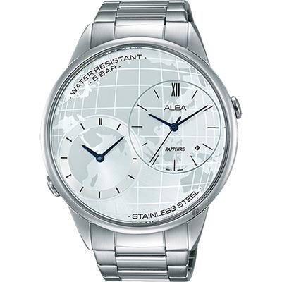 ALBA 街頭酷玩家二地時間腕錶(AZ9013X1)-銀/45mm
