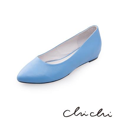 Chichi 微尖頭素面百搭平底鞋*藍色