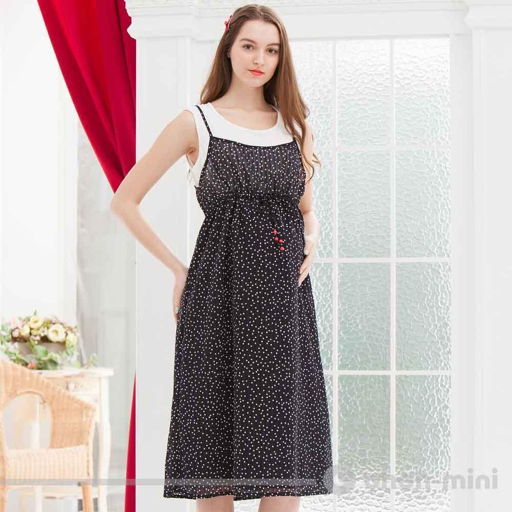 ohoh-mini孕婦裝假兩件無袖名媛度假風長洋裝