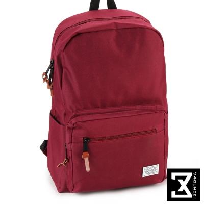 74盎司 後背包 韓版尼龍素色硬挺 後背包[TG-065]暗紅
