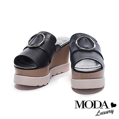 涼鞋MODA Luxury 摩登前衛圓形金屬飾釦木紋拼接後底拖鞋-黑