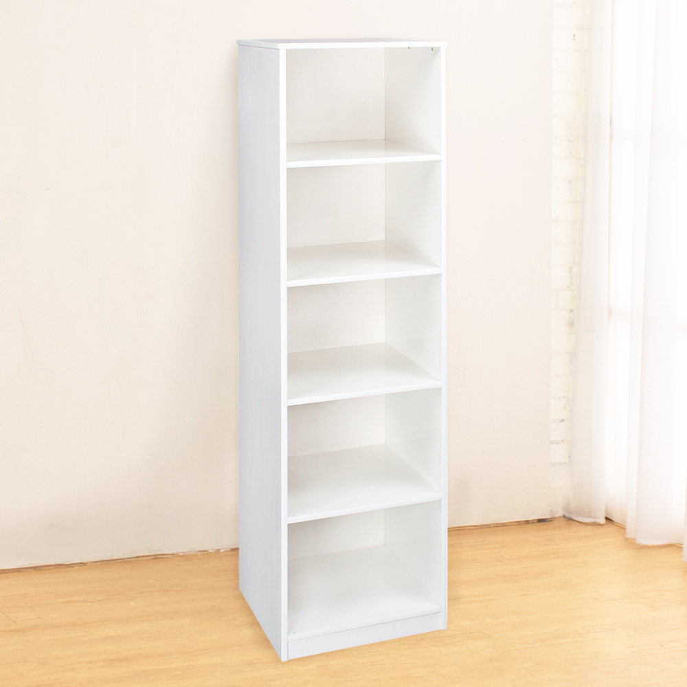 Bernice-防潮防蛀 塑鋼白色五格收納櫃-43x40x166cm