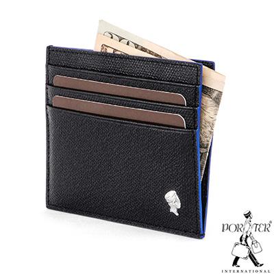 PORTER-大膽玩色BOLD輕薄真皮卡片夾-藍