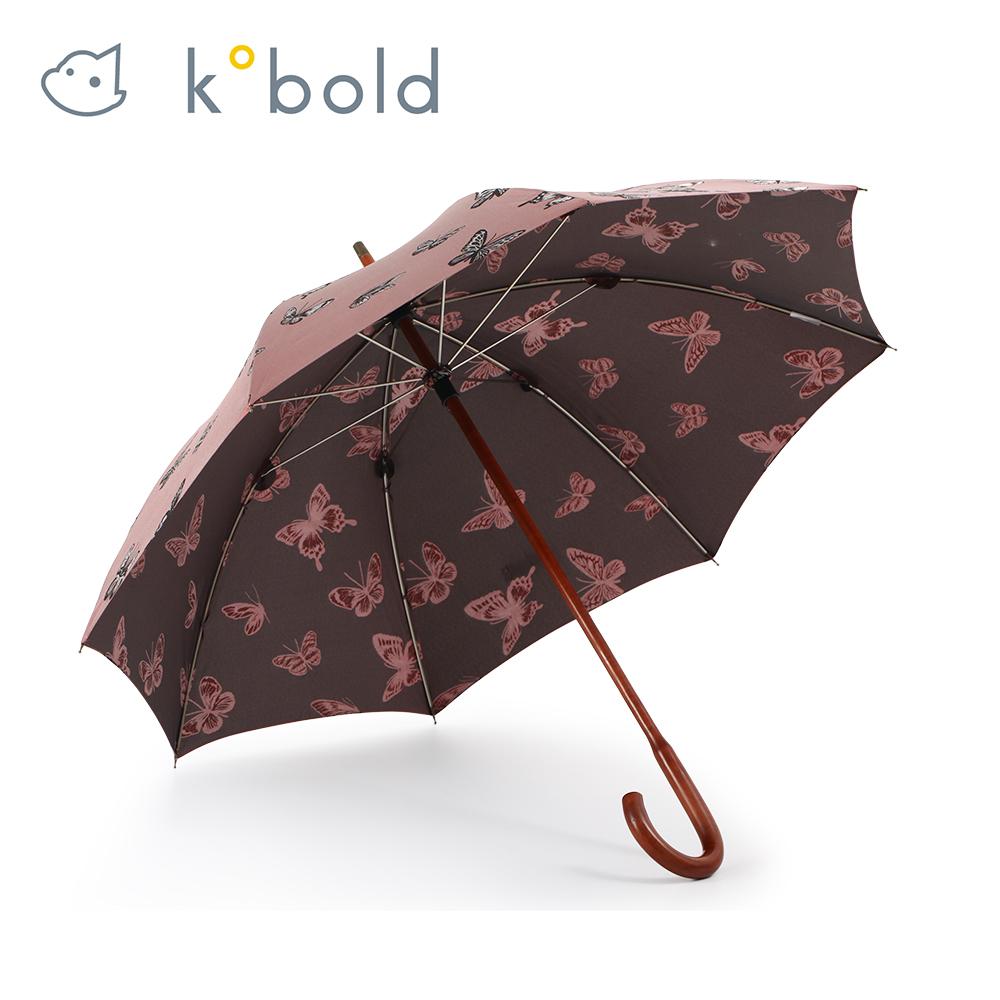 德國kobold酷波德 紅點設計師優雅蝴蝶-全楓木手把-抗UV經典洋傘-紅