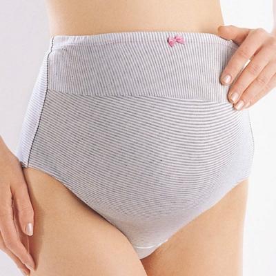 Gennies專櫃-超值3件組*010系列-孕婦高腰內褲(灰條紋TB25)