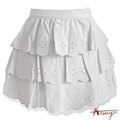 Annys甜美條紋洞洞荷葉蛋糕短裙*8159灰