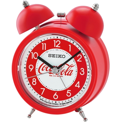 SEIKO精工 Coca-Cola 響鈴聲貪睡鬧鐘(QHK905R)-紅
