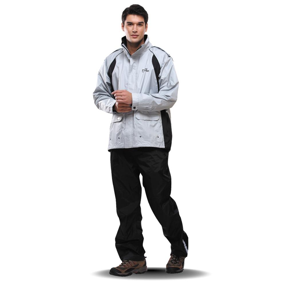 達新牌 T-CORE WF專業防水透濕兩件式風雨衣套裝-銀灰∕曜黑