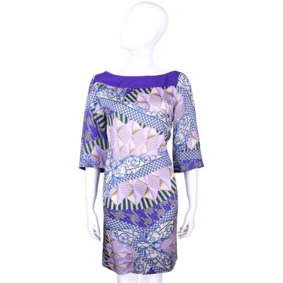 VERSACE 紫色編織圖騰五分袖洋裝