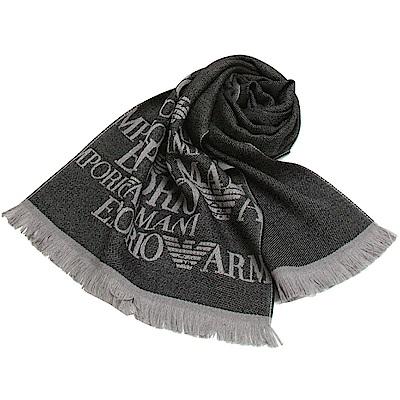 Emporio Armani 雙面橫紋LOGO針織羊毛圍巾-黑