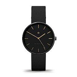 Newgate-DRUMLINE-靜謐黑-義大利皮革錶帶-40mm