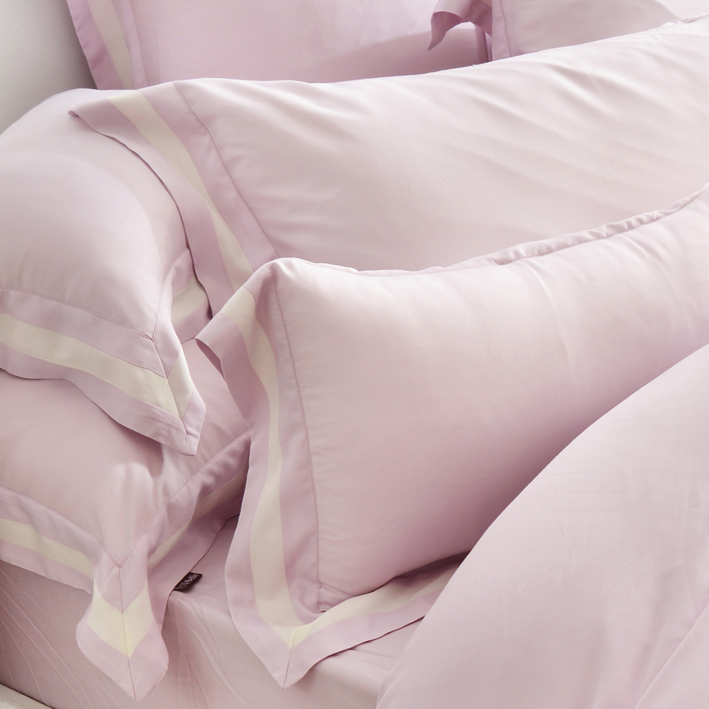 義大利La Belle 法式簡約-紫 雙人天絲拼接四件式防蹣抗菌舖棉兩用被床包組