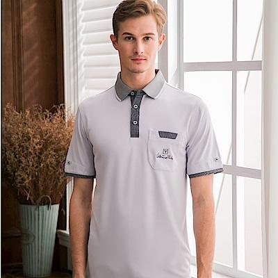 Valentino Rudy范倫鐵諾.路迪-吸濕排汗螺紋領Polo衫-淺灰